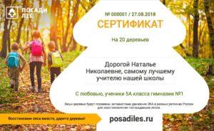 Сертификат Посади лес