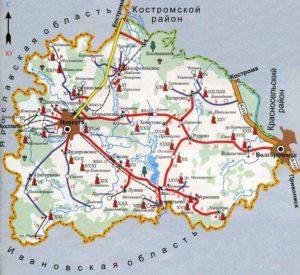 Карта Нерехтского района