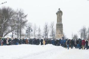 Протестная акция у авмятника Сусанину в Костроме 31 января 2021
